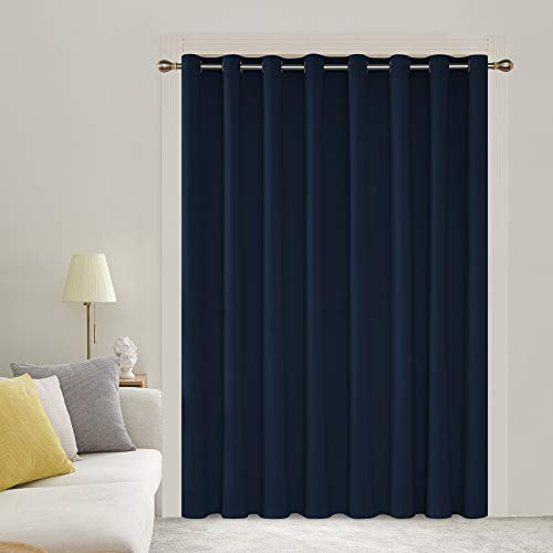 Deconovo Solid Color Thermal Insulated Wide Width Curtains Blackout Curtains Grommet Room Darkening Curtains for Dinning Room 100W X 84L Inch Navy Blue 1 Drape