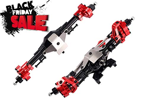RZXYL 1:10 SCX10 Universal Latest Model Aluminum Portal Front and Rear Axle (Black with Red)
