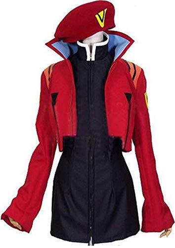Poetic Walk EVA NEON Genesis Evangelion Katsuragi Misato Cosplay Dress Costume (Womens-M, Red)