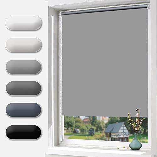 Verdunklungsrollo klemmfix Rollo ohne Bohren 120 cm breit Lichtundurchlässig und Lichtdicht Thermorollo für Fenster und Tür Länge 150 cm Grau