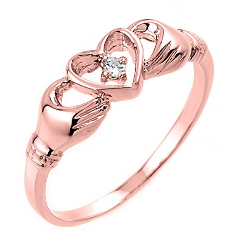 High Polish 10k Rose Gold Diamond Solitaire Claddagh Ring (Size 7)