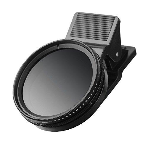 ZOMEI Densité neutre réglable Clip-on ND 2-400 Filtre d'objectif avec clip pour iPhone 6S, 6S Plus, Samsung Galaxy et Smartphones Android (ND2-ND400 Filtre ND)