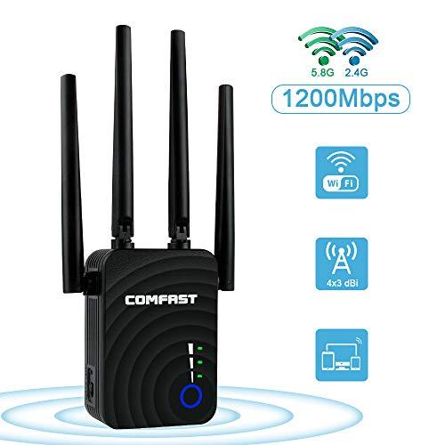 laxikoo WLAN Repeater, WLAN Verstärker Dualband Signal Extender 1200Mbit/s 5.8GHz &300 MBit/s 2.4GHz WiFi Range Extender mit 2 LAN Ports/Repeater/Access Point-Modus Kompatibel zu Allen WLAN Geräten