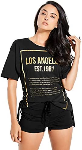 GUESS Womens Lace Up Graphic T Shirt Black Large product image