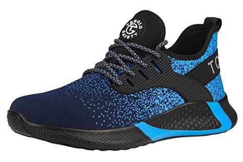 [tqgold] 安全靴 スニーカー 作業靴 軽量 あんぜん靴 メンズ レディース 通気性 鋼先芯 ケブラーミッドソール 耐摩耗 防刺 耐滑 ワークシューズ セーフティーシューズ (ブルー 25.0cm)