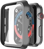 Misxi Schwarz Hard Hülle Mit Glas Displayschutz Kompatibel mit Apple Watch Series 6 / SE/Serie 5 / Series 4 44mm, 2-Stück