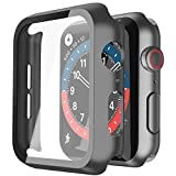 Misxi Schwarz Hard Hülle Mit Glas Bildschirmschutz Kompatibel mit Apple Watch Series 6 / SE/Serie 5 / Series 4 44mm, 2-Stück