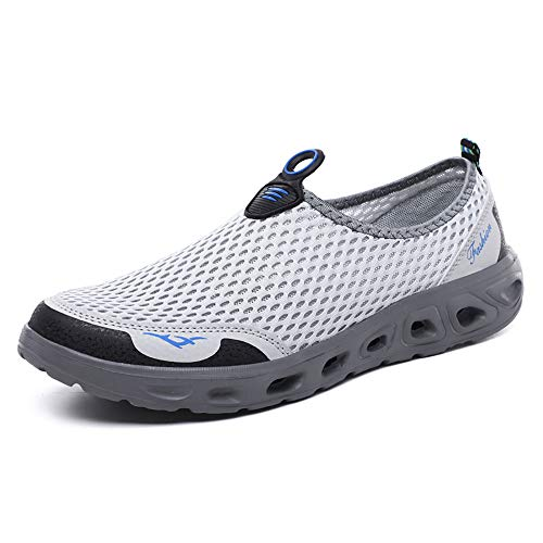 GOOD STUDIOS Men Women Mesh Water Shoes Quick Dry Slip-on Aqua Shoes for Swimming Pool Beach Walking Running Exercise, White/Grey, 11