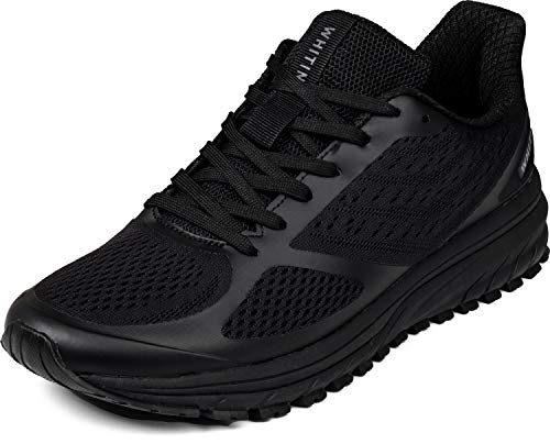 JOOMRA Mens Tennis Shoes Arch Supportive Trail Running Sneakers All Black Size 9.5 Lace Cushion Man Fashion Runner Walking Jogging Breathable Sport Footwear 43