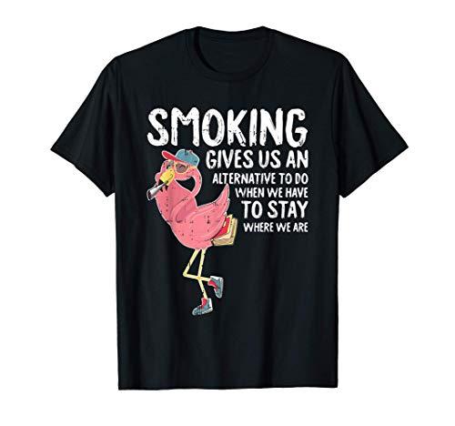 Flamingo Fumando Marihuana Cannabis Pothead Stoner Camiseta