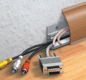 Kabelkanal Sockelleiste/Fußbodenleiste in 6 Dekoren [Kirschbaum, 10m]