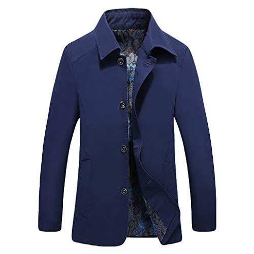 MAYOGO Herren warm Baumwolle Mäntel Jacke Männer Kurzmantel Winter Jacke Business Slim fit (Dunkelblau, XXXL)