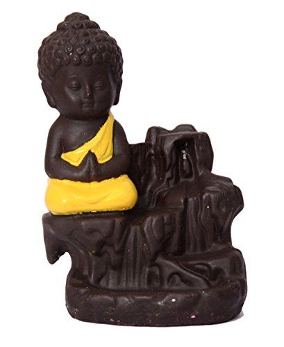 Decora Craft Polyresin Buddha Incense Smoke Burner Fountain, Standard, Yellow