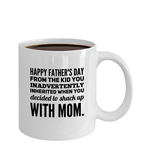 Comcl Coffee Gift/Stepdad Shacking Up with My Mom Best Dad Ever 1st Day/Funny Father Mug, 11OZ