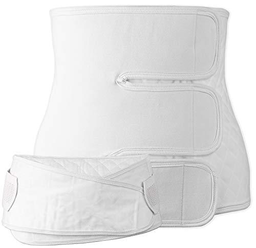 iloveSIA Damen stützend für Schwangere stützendes Bauchbinde Bauchgurt mit Leine Weiß M