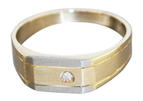 Herrenring Gold 585 bicolor Brillant Goldring 14 Karat massiver Brillantring Hobra-Gold (64 (20.4))