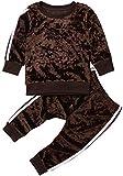 Chloefairy Baby Jogginganzug mit Langarm Sweatshirt Jogginghose Lang Samt Unisex Mädchen Jungen Sportanzug Pullover Legging Bekleidung Outfit Set für Kleinkinder Herbst Winter (Braun, 90)