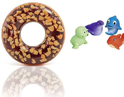 Witzige lustige Luftmatratze Schwimmreifen Schwimmring XL aufblasbar Schokolade Chocolate Donut Design Motiv 114 cm für Wasser Strand Party Spielzeug Wasserspielzeug Sommerspielzeug Kinder Erwachsene