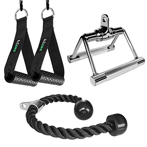 A2ZCARE Combo Tricep Press Down Cable Attachment. LAT Pulldown Attachment Set with Tricep Pull Down Rope, Exercise Handles and V Handle