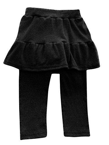 Plus Nao(プラスナオ) キッズスカート付きレギンス スカッツ シンプルコーデ 無地 フリルデザインボトムス 女の子 ジュニア 子供服 90 100 90 ブラック