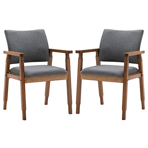 Set of 2 Mid Century Modern Walnut Dining Chairs Wood Arm Grey Fabric Kitchen Cafe Living Room Decor Furniture