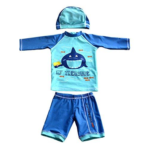 Kinder Jungen Badeanzug Badebekleidung 3er Set UV-Schutz Bademode Schwimmanzug Langearm T-Shirt + Badehose+ Hut (Blau, 1-2 Jahre)