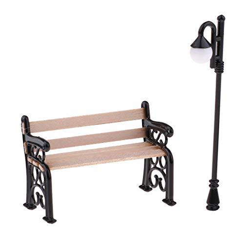 Panchetta con Lampione Stradale Lumini Luce Notte Bench per Sedere Miniature Dollhouse - #2