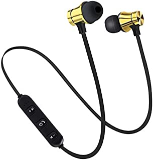 Magnetic Wireless Bluetooth Headset Stereo Sports Waterproof Earbuds Wireless in-Ear Headphones with Microphone Apple Android Phone Universal (Цвет : Yellow)