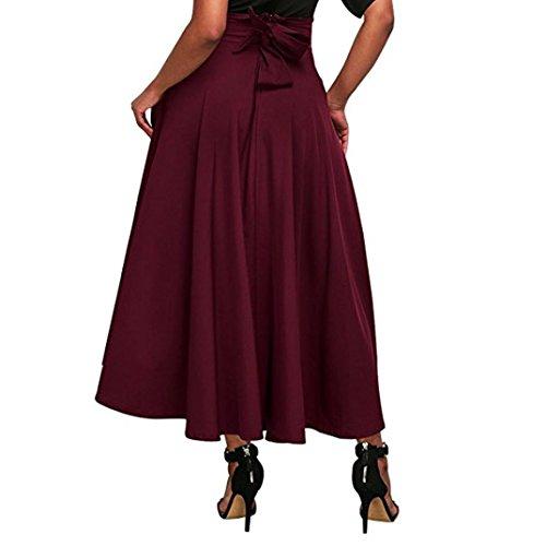 Kleider Damen Sommer Elegant Knielang Hohe Taille plissiert eine Linie Langen Rock vorne Schlitz Gürtel Maxi Rock Festlich Hochzeit Abendkleider Strand (Rot, XL)