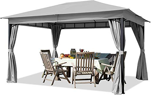 FMXYMC Garden Pavilion 3x4m/3m 180g/m² Waterproof Tarpaulin Gazebo – 4-sided Garden Tent Light Grey Party Tent,3x3m