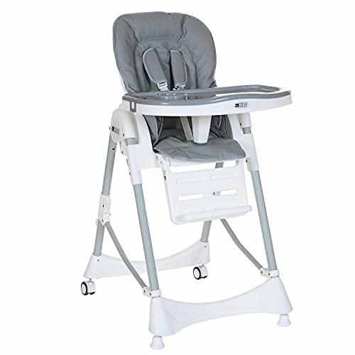 Kinderhochstuhl bis 15 kg Liegeposition Höhenverstellbar Klappbar 5 Punkt-Gurt; Grau