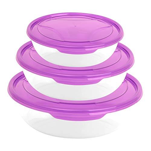 Lot de 3 boîtes de conservation rondes en plastique transparent avec couvercle pour aliments - Violet