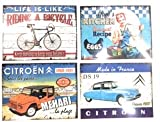 Udc Edition du sur – Juego de 4 manteles individuales vintage de Riding a Bicycle – Mum's Kitchen – Citroën – 30 x 40 cm