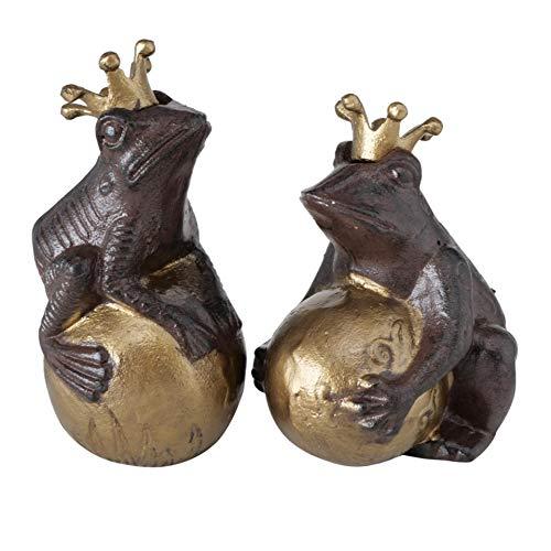 CasaJame Rana sobre bola, juego de 2 unidades, surtido de príncipe rana, de hierro fundido, marrón, altura 17 cm