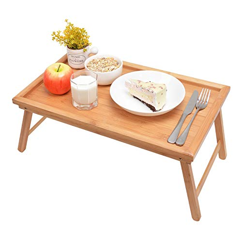 Zhuoyue Bamboo Bed Tray with Folding Legs, Lap Tray Breakfast Tray Great for Breakfast in Bed or Eating Tray