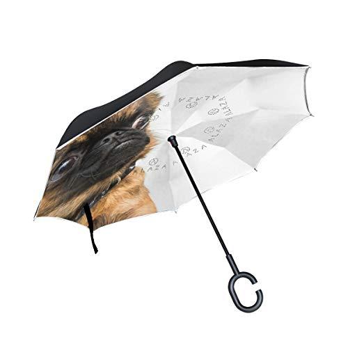 SKYDA Paraguas Plegable de Doble Capa con Mango en Forma de C...