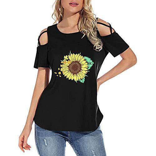 Damen Kurzarm T-Shirts Sommer Spitze V-Ausschnitt Grosse Damenmode Tunika Schwarz Damen elegant Kurzarm Teenager Mädchen Frauen Tie-Dye Fashion Printed Bunte Bluse Tops (Black 08,M)