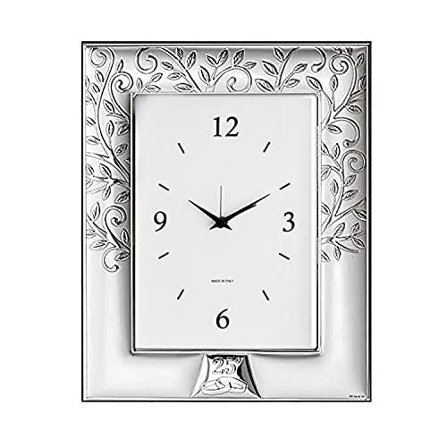 Valenti – Reloj de mesa con diseño de árbol de la vida laminado en plata – índices con números – Parte trasera de madera – Recorrimiento: 25 aniversario Cód. 656 4ORL