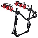 HOMCOM Foldable 3 Bike Carrier Rear Hitch Mount Bicycle Rack W/Straps Car Trunk SUV Travel Transit