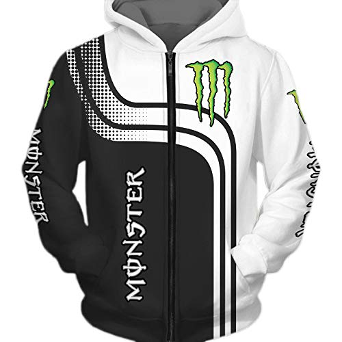 THEBEST BIst Hombres Hoodies Chaqueta por Monster-Energy 3D Impresión Sudadera con Capucha Pull-Over Sudadera-Fan Jersey Tops / D1 / XL