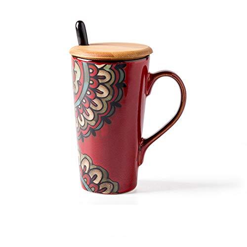 JMAHM Koffiebeker Keramiek Mokken Sets Oude Stijl met Houten Deksel en Lepel voor Melksap Cup Rood
