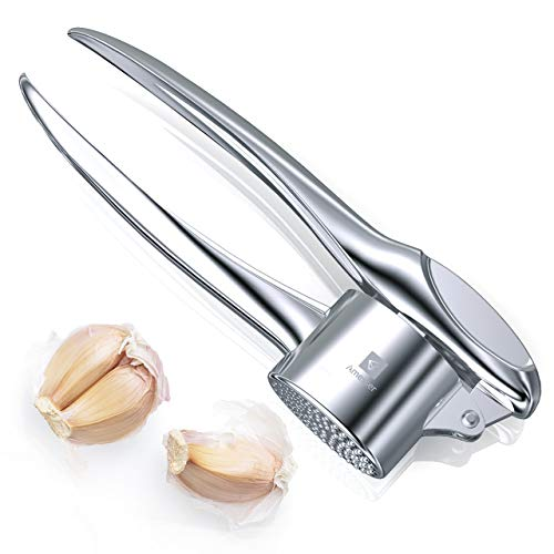 Amesser Garlic Press Premium Stainless Crusher - Kitchen Professional Ergonomic Handle Food Grade Garlic Mincer, Dishwasher Safe Heavy Duty Garlic Presser