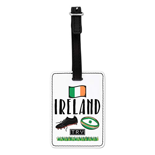 Gift Base Rugby Ireland Visual Luggage Tag with Black Strap
