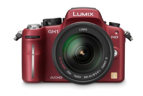 Panasonic Lumix DMC-GH1KEG9R Systemkamera (12 Megapixel, 7,6 cm Display, LiveView, Full-HD) rot mit 14-140 mm Objektiv schwarz