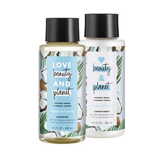 Love Beauty And Planet Volumizing Shampoo and Conditioner Paraben Free Silicone Free and Vegan Coconut Water and Mimosa Flower 135 oz 2 count