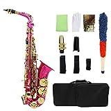 KEPOHK Nuevo Eb Alto saxof¨®n Lat¨®n lacado Oro E Instrumento de saxof¨®n plano con cepillo de limpieza Guantes de tela roseRed