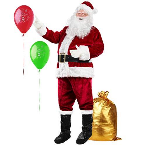 Men's Santa Suit Soft Velvet Santa Claus Costume for Adult Christmas Complete Santa Set Outfit Wine