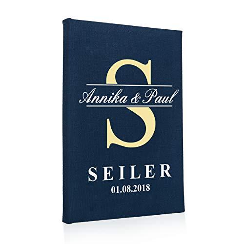 Hochzeitideal Stammbuch der Familie, Familienstammbuch aus Buchbinderleinen, Nr. 79 inkl. Personalisierung (Dunkelblau)