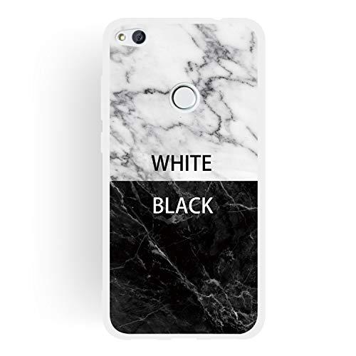 Everainy Funda Compatible para Huawei P8 Lite 2017/P9 Lite 2017 Silicona Ultrafina TPU Gel Case Dibujos Frase Mármol Goma Caso Caucho Antigolpes Parachoque Cover (Blanco Negro)
