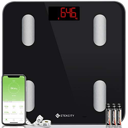 Etekcity Ultraslanke weegschaal, slimme digitale personenweegschaal met app voor 13 lichaamsgegevens, analyseert BMI, gewicht, spiermassa, water, eiwit, BMR, enz. iOS & Android, zwart
